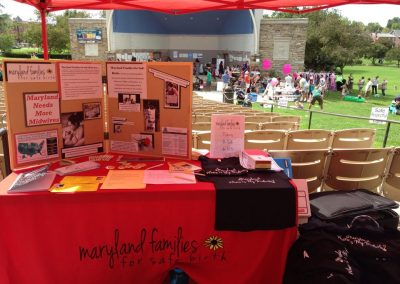 MFSB table at Frederick birth fair 2014
